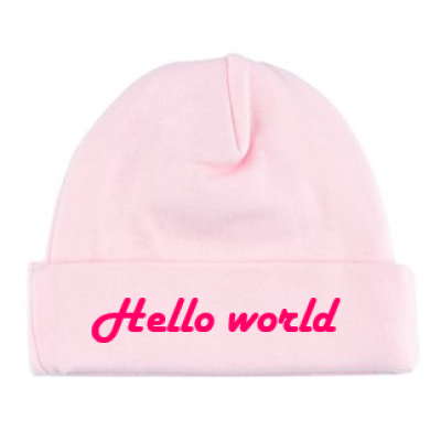 "Babymutsje ""Hello world"""