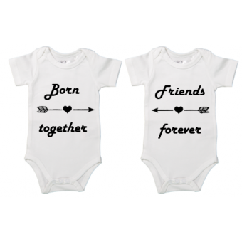 "Rompertje tweeling ""Born together, Friends forever"""
