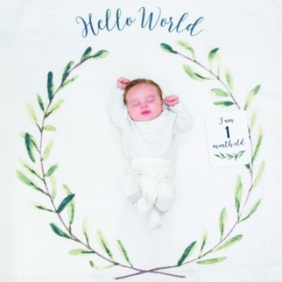 Lulujo Baby's First Year Swaddle & Cards - Hello World